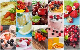 Different summer food collage stock photography