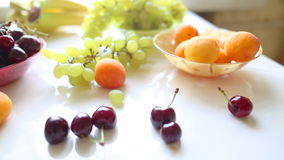 Different Summer fruits on a table Royalty Free Stock Photos