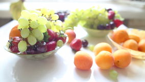 Different Summer fruits on a table stock video