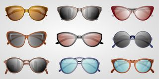 Different summer sunglasses icon set. Male and female elegant eyeglasses, fashion accessory isolated on white backogrund vector illustration. Glasses in Royalty Free Stock Photos