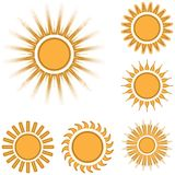 Different sun icons set isolated on white background.  Royalty Free Stock Photos