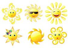 Different Sun. Set of six sun icons Stock Photos