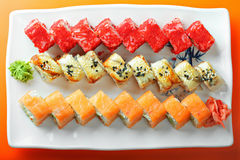 Different sushi rolls above view Royalty Free Stock Photography