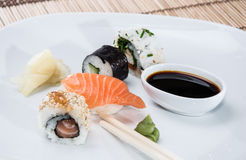 Different Sushi Rolls on a plate Stock Images