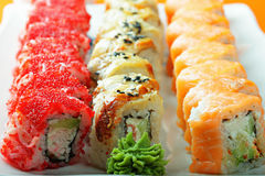 Different sushi rolls and wasabi closeup Stock Photo