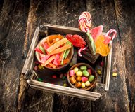 Different sweet candy, jelly, marshmallows and candied fruits. Royalty Free Stock Photo