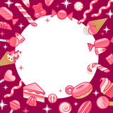 Different sweets. Assorted candies round frame background. Royalty Free Stock Photography