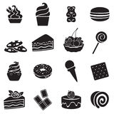 Different sweets black and white icons set. Stock Images