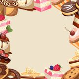 Different sweets colorful background. Different sweets colorful Empty frame. Vector illustration Royalty Free Stock Images