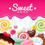 Different sweets colorful background. Royalty Free Stock Images