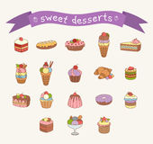 Different sweets icons set Stock Photos