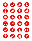 Different symbols. Red-white symbols of fruit, vegetables, animals and technics Stock Photography