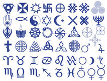 Different symbols created by mankind. Set of fifty one various vector symbols created by mankind in different periods of history Royalty Free Stock Photo