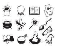Different symbols of magicians, alchemists and wizards. Vector monochrome silhouettes isolate on white Royalty Free Stock Photography