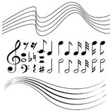 Different symbols of music notes and line paper. Illustration Stock Image
