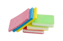 Different synthetic cleaning sponges on a light background Stock Image
