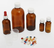 Different tablets, medicine. Tabletop against a white background Stock Images