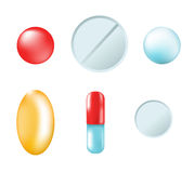Different  tablets and pills  on white background Stock Photo