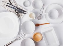 Free Different Tableware And Dishes On The White Background, Top View. Royalty Free Stock Photography - 134954817