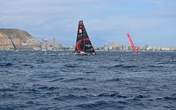 Scallywag Volvo Ocean Race Alicante 2017. Different tacks In Alicante bay on the first leg of the round the World race Stock Images