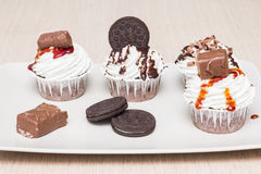 Different tasty cupcakes with biscuits and chocolate on a plate Stock Photos