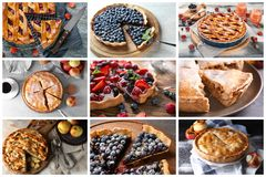 Different tasty fruit pies royalty free stock image