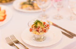Different tasty snacks for wine on luxury banquet table Royalty Free Stock Photography