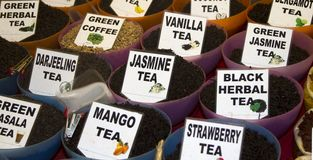 Different tea flavors found in flea market, India Stock Photography