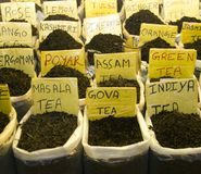Different tea flavors found in flea market, India Royalty Free Stock Photography