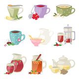 Different tea soft brand drinks glasses and teapot in glass jars healthy eating vector illustration. Refreshment fruit liquid water mint collection traditional Stock Photography