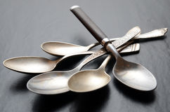 Different teaspoons on a table Stock Photo