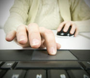 Different technology, computer mouse and touch pad Stock Photo