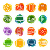 Different technology silhouette icons collection Stock Photos
