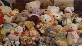 Different teddy bears. A lot of different teddy bears Royalty Free Stock Photography