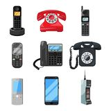 Different telephones and smartphones. Vector illustrations in cartoon style Stock Image