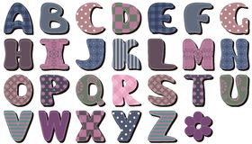 Different textile scrapbook alphabet on white Stock Photo