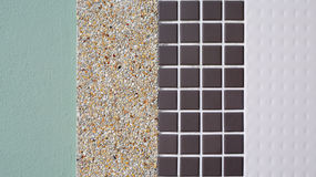 Different texture of tile. Cement and gravel on wall Royalty Free Stock Images