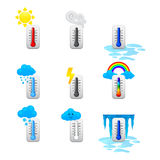 Different thermometer icons set Stock Photos