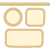 Different Thickness Rope Frames and Borders Set. Vector. Different Thickness Rope Line and Frames or Borders Set Ready to Use with Space for Text. Vector Royalty Free Stock Photos