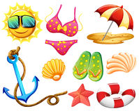Different things used during summer Royalty Free Stock Photography