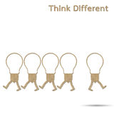 Different think. Burlap light bulb different think  on white background Royalty Free Stock Photos