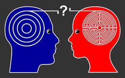 Different Thinking Pattern. Women think differently than men leading to misunderstanding and open questions Stock Photo