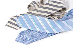 Different Ties on white background Stock Photo