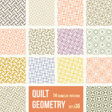 14 different tiles with geometric patterns. Set of 14 tiles with geometric patterns. Collection of different abstract patterns, number 36. Simple retro colors Stock Photography