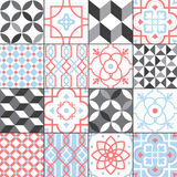 Different tiles pattern collection. Colorful and monochrome tracery set. Traditional and modern ornament vector Royalty Free Stock Photography