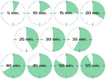 Different time clocks. Different time minutes set. Isolated on white vector illustration