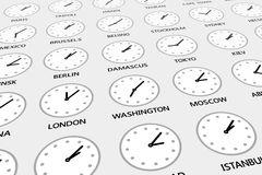 Different time for different cities Royalty Free Stock Image