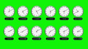 Different Time Zones Clocks on a Green Screen in Time Lapse. Accurate Clocks with Different Time Zones All over the World in Time Lapse stock video footage