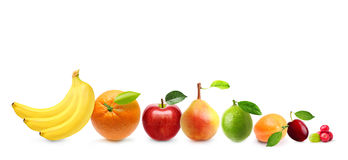 Different tipe of fruits isolated Royalty Free Stock Photography
