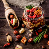 Different tipes of nuts in jar. Royalty Free Stock Photography